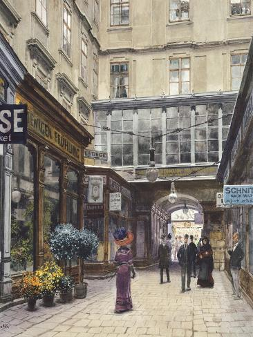 The Domgasse in Vienna, Austria 20th Century Watercolour Giclée-Druck