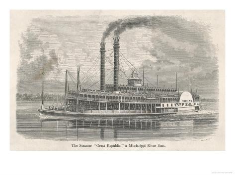 The Elegant Mississippi Paddle Steamer Great Republic Giclée-Druck