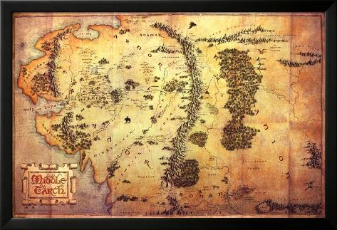 The Hobbit: A Unexpected Journey - Karte von Mittelerde Laminiertes gerahmtes Poster