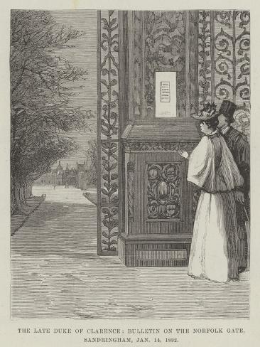 The Late Duke of Clarence, Bulletin on the Norfolk Gate, Sandringham, 14 January 1892 Giclée-Druck