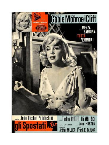 The Misfits, (aka Gli Spostati), Italian Poster, Marilyn Monroe, 1961 Giclée-Druck