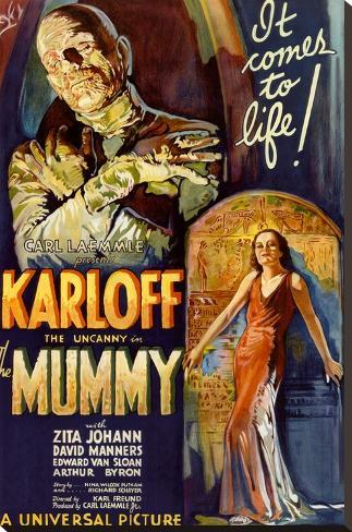 The Mummy Movie Boris Karloff, It Comes to Life Poster Print Bedruckte aufgespannte Leinwand