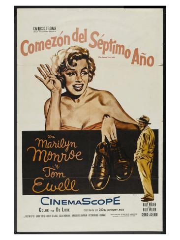 The Seven Year Itch, Argentine Movie Poster, 1955 Kunstdruck