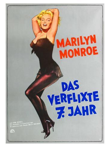 The Seven Year Itch, German Movie Poster, 1955 Kunstdruck