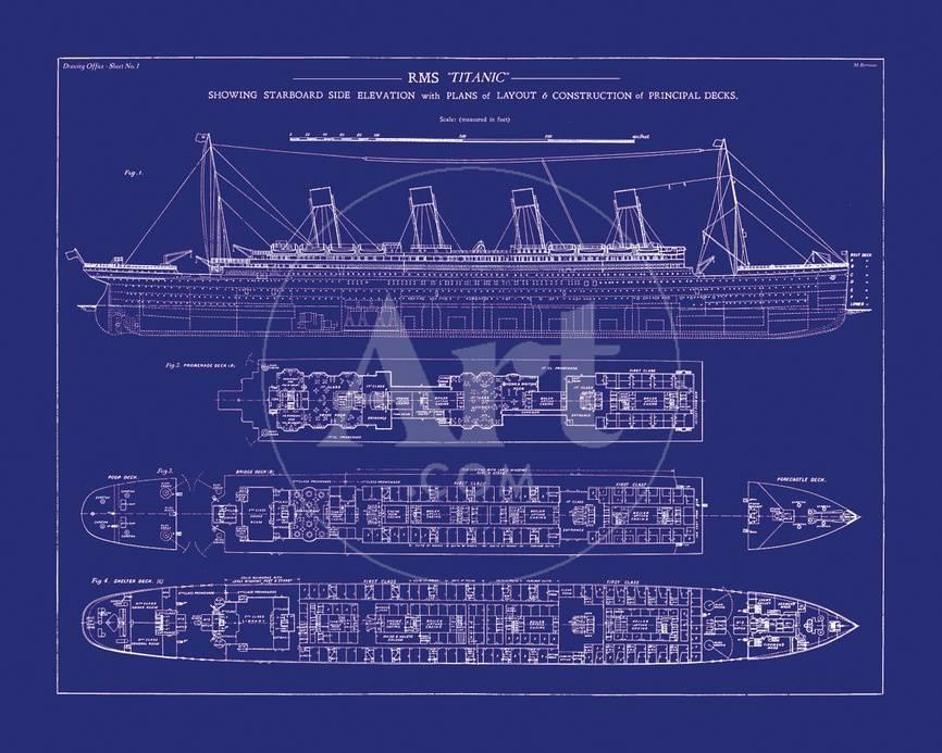 Titanic Blueprint I Fotografie-Druck von The Vintage Collection ...