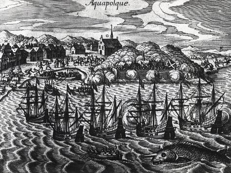 Fleet of Galleons in Acapulco Port Giclée-Druck