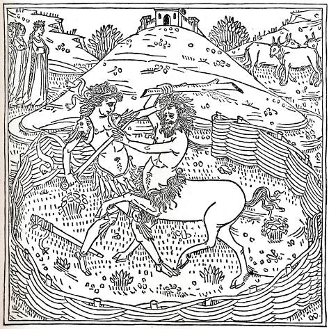 Theseus and the Centaur, Plutarch: Vitae Parallelae, 1491, (1917) Giclée-Druck