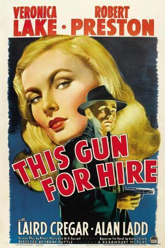 This Gun for Hire, Veronica Lake, Alan Ladd, 1942 Kunstdruck