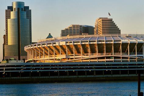 Three Rivers Stadium on Ohio River, Cincinnati, OH Fotografie-Druck