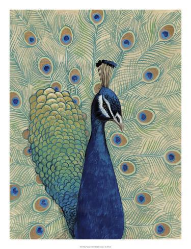 Blue Peacock I Giclée-Druck