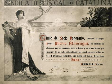 Title of Honorary Member of Catalonia Music Association Conferred to Pietro Mascagni in 1907 Giclée-Druck