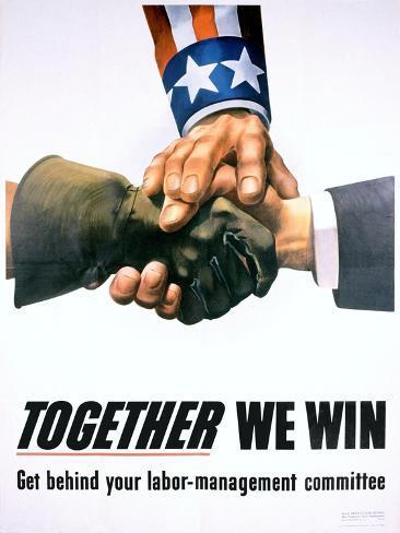 Together We Win Labor-Management Poster Giclée-Druck