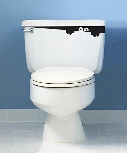 Toilet monster sticker muursticker bij - Opnieuw zijn toilet ...