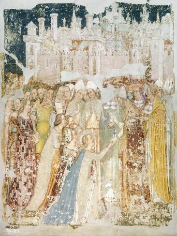The Arrival of St Ursula in Rome, Detail from the Fresco Legend of St Ursula, 1360-1366 Giclée-Druck