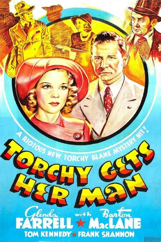 TORCHY GETS HER MAN, US poster, center left: Glenda Farrell, Barton MacLane, 1938 Kunstdruck