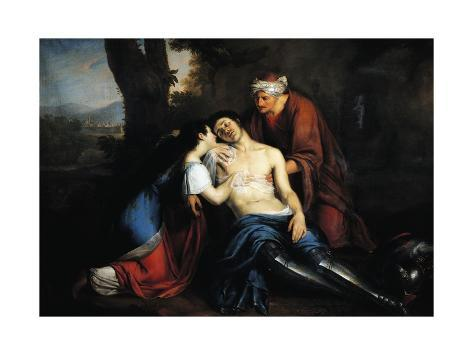 Tancredi Wounded and Found by Erminia and Vafrino, Scene from Canto XIX from Jerusalem Delivered Giclée-Druck