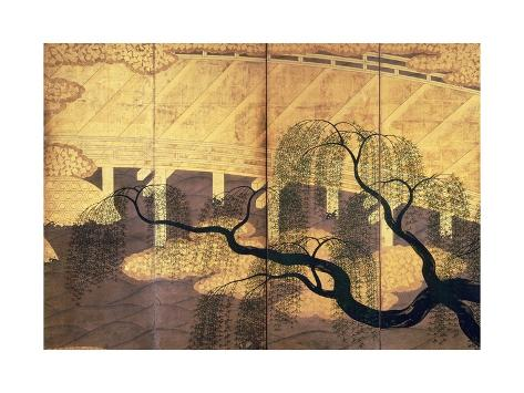 The Willows on Uji Bridge, Detail from Decorative Screen Giclée-Druck