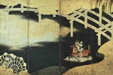 The Two Rival Generals, Sakasi Takatsuna and Kajiwara Kagesue, at the Battle of the Uji River Giclée-Druck
