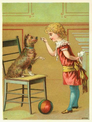 Trade Card of a Girl Training a Terrier Dog Giclée-Druck