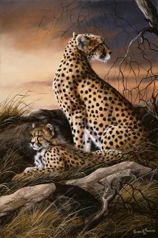 Cheetahs of Dusk Giclée-Druck