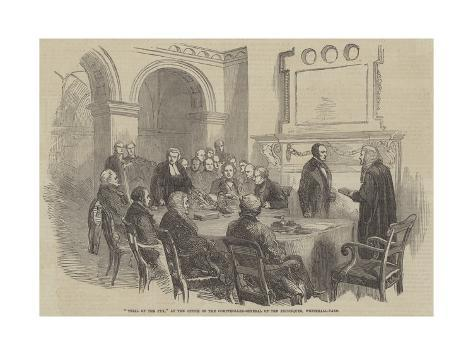 Trial of the Pyx, at the Office of the Comptroller-General of the Exchequer, Whitehall-Yard Giclée-Druck