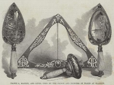 Trowels, Mallet, and Level Used by the Prince and Princess of Wales at Glasgow Giclée-Druck