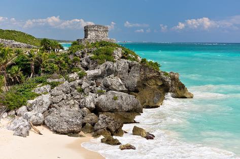 Tulum Mexico Beach Mayan Ruins Bedruckte aufgespannte Leinwand