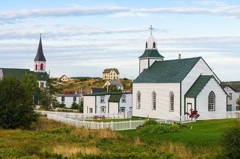 Two churches in town of Trinity, Newfoundland and Labrador, Canada Fotografie-Druck