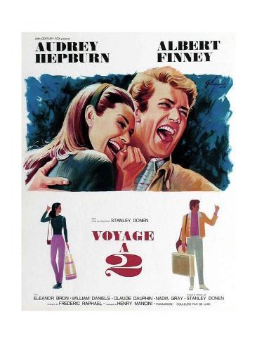Two for the Road, from Left, Audrey Hepburn, Albert Finney, 1967 Giclée-Druck