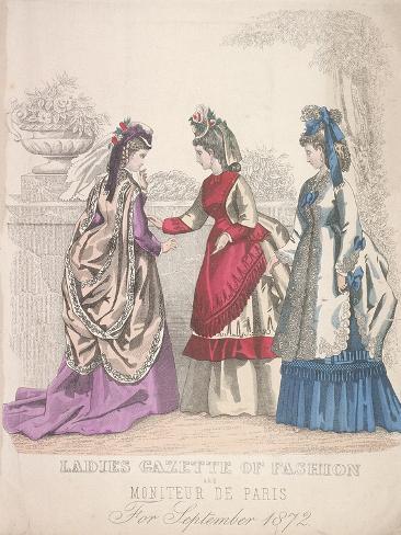 Two Women on the Left Wearing Seaside Fashions, the Woman on the Right Wears a Garden Dress, 1864 Giclée-Druck