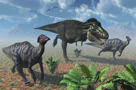 Tyrannosaurus Rex Attacking a Herd of Parasaurolophus Duckbill Dinosaurs Kunstdruck