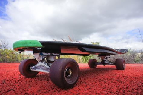 Vintage Style Longboard Black Skateboard Premium-Fotodruck