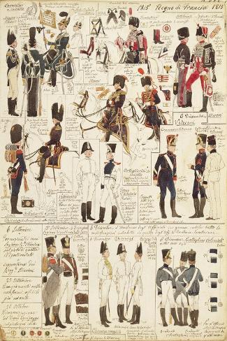 Uniforms of Hunters on Horseback of Kingdom of France Giclée-Druck