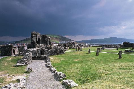 United Kingdom, Scotland, Ruins of Aberystwyth Castle Built in 1277 by Edward I Giclée-Druck