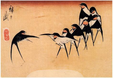Utagawa Hiroshige Dancing Swallows Art Print Poster Poster