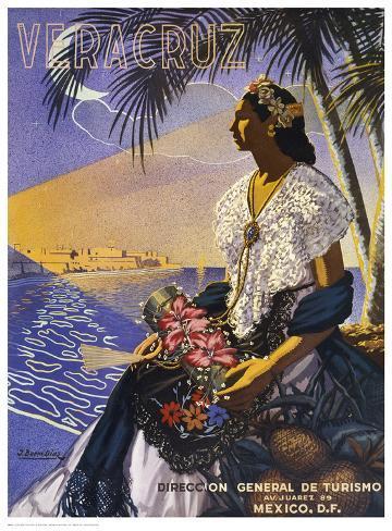 Veracruz, Senora with Flowers Kunstdruck
