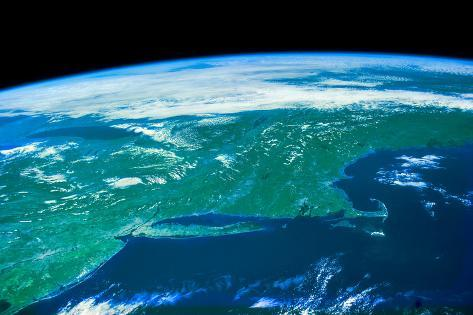 View of planet Earth from space showing American Northeast area Fotografie-Druck