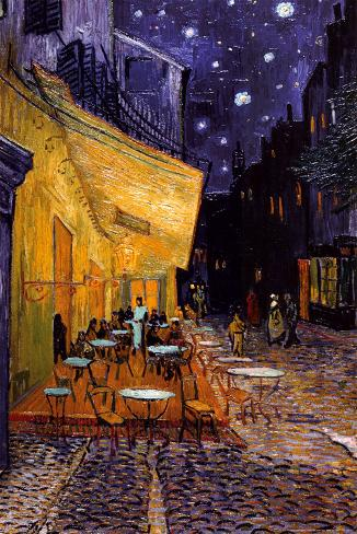 Caféterras bij nacht Poster