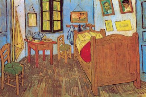 Slaapkamer in Arles, ca.1887 Kunst op gespannen canvas van Vincent ...