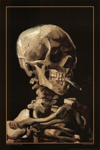 Totenkopf mit Zigarette, 1885 Poster
