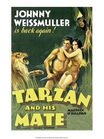 Vintage Movie Poster, Tarzan and his Mate Kunstdruk