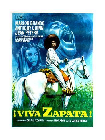 Viva Zapata!, Jean Peters, Marlon Brando, Anthony Quinn, (Spanish Poster Art), 1952 Giclée-Druck