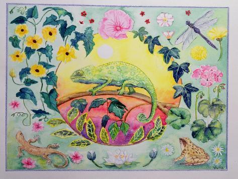 Chameleon (Month of June from a Calendar) Giclée-Druck