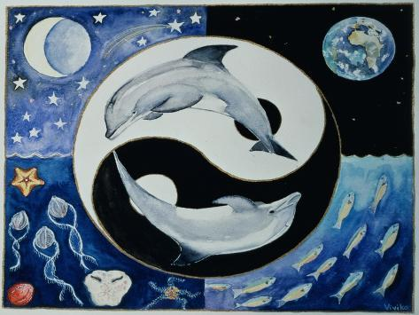 Dolphins (Month of May from a Calendar) Giclée-Druck