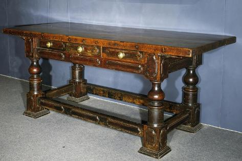 Walnut Table with Turned Legs Joined by Stretchers, Italy, Late 16th Century Giclée-Druck