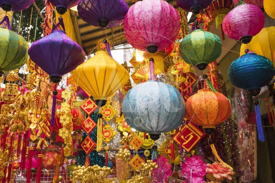 Vietnam, Hanoi. Tet Lunar New Year, Holiday Decorations for Sale ...