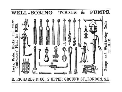 Well Boring Tools and Pumps Advertisement, 1888 Giclée-Druck
