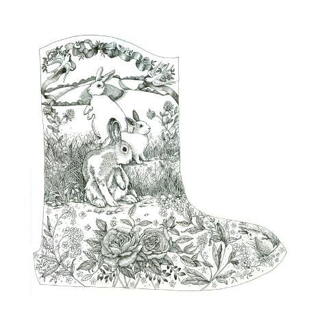Bunny Toile Boot Giclée-Druck