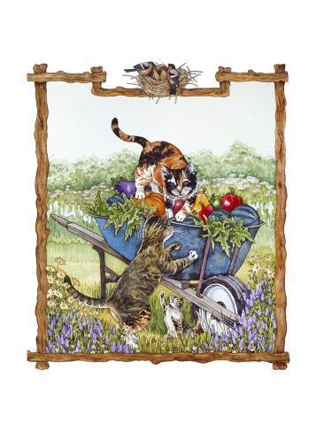 Kittens in Wheelbarrow Giclée-Druck