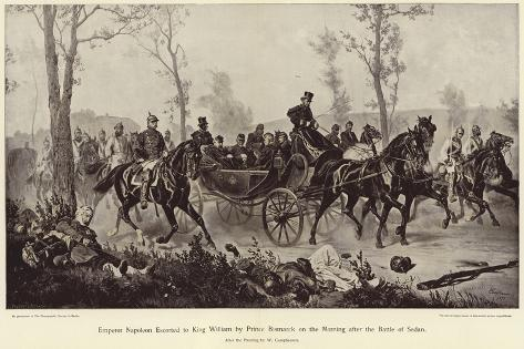 Emperor Napoleon Escorted to King William by Prince Bismarck Giclée-Druck